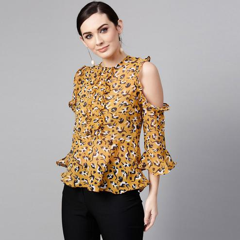 Glowing Mustard Yellow Colored Casual Wear Cold Shoulder Printed Polyester Top