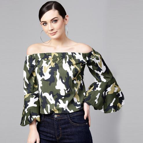 Exceptional Green Colored Casual Wear Off Shoulder Polyester Top