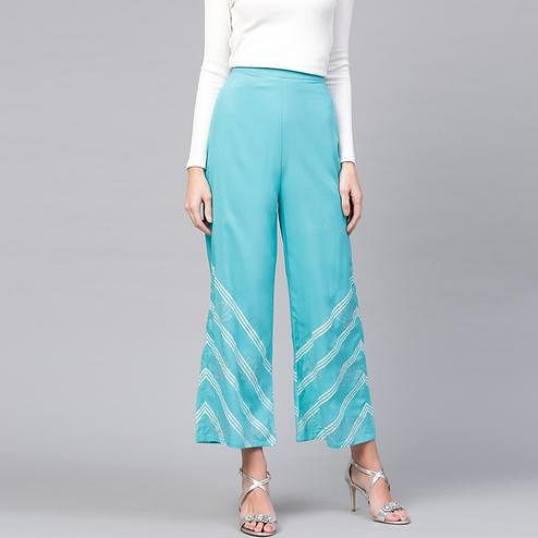 Gleaming Blue Colored Casual Wear Printed Rayon Palazzo