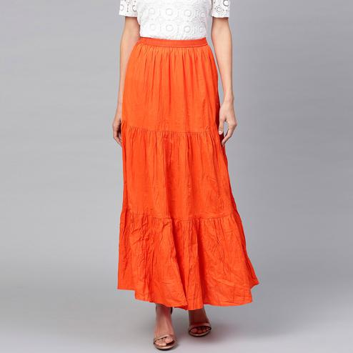 Mesmeric Orange Colored Casual Wear Cotton Skirt