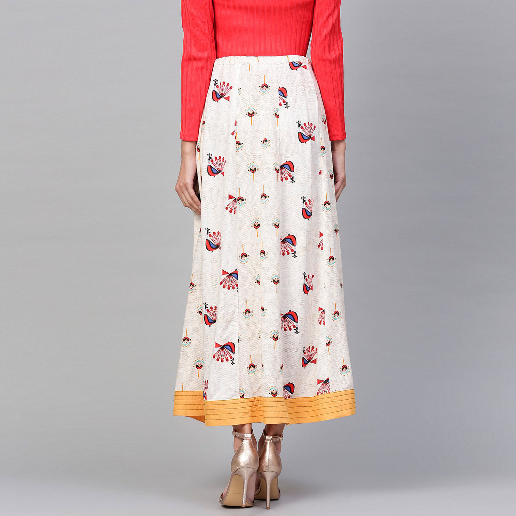 Unique Off White Colored Casual Wear Printed Rayon Skirt