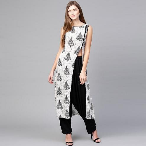 Magnetic White-Black Colored Casual Wear Printed Rayon Kurti-Palazzo Set