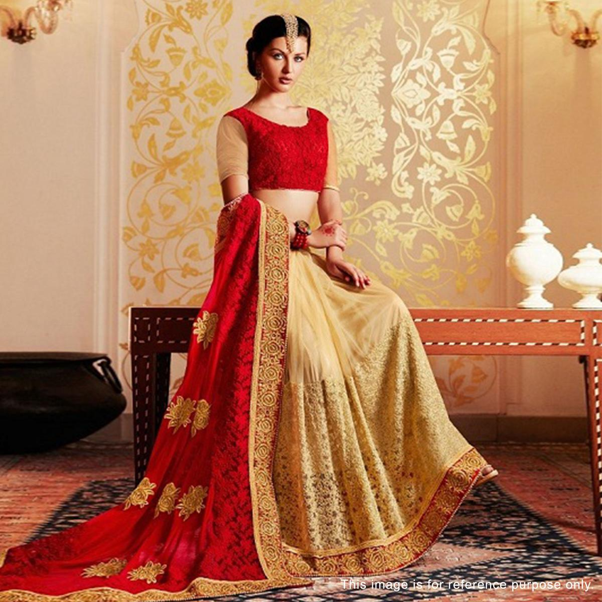 Beige - Red Georgette & Nylon Net Half Saree
