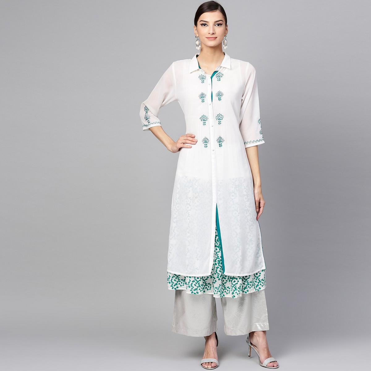 Marvellous White Colored Casual Wear Printed Georgette Kurti