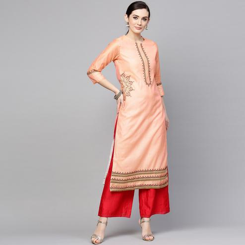 Flamboyant Peach Colored Casual Wear Floral Embroidered Chanderi Silk Kurti