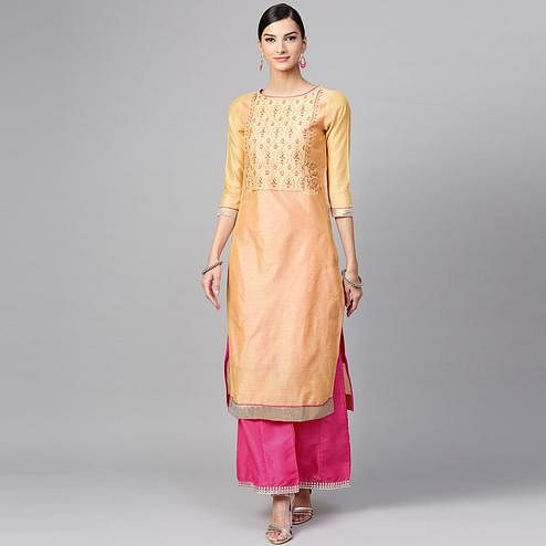 Pretty Yellow Colored Casual Wear Floral Embroidered Chanderi Silk Kurti
