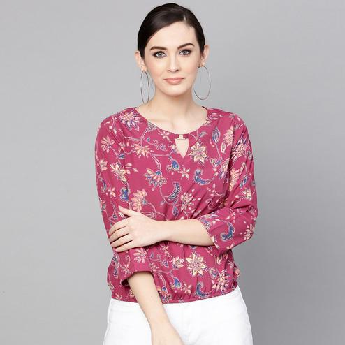 Alluring Pink Colored Casual Wear Floral Printed Crepe Top