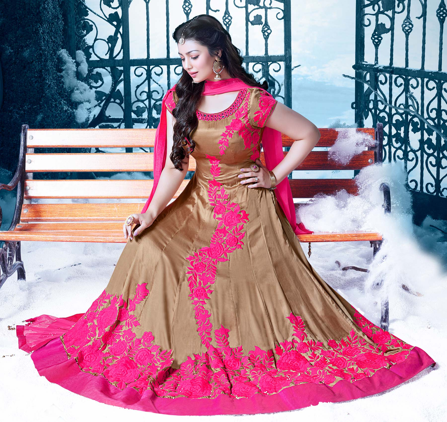 Beige - Pink Embroidered Indo Western Suit