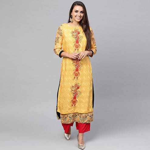 Glorious Yellow Colored Casual Wear Printed Rayon Kurti