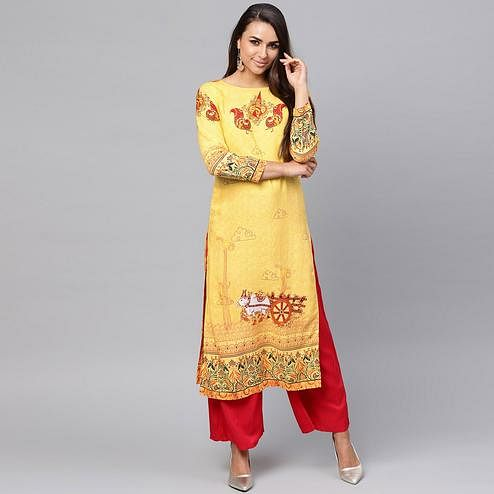Attractive Yellow Colored Casual Wear Printed Rayon Kurti