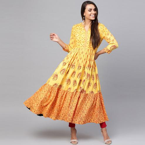 Graceful Yellow Colored Party Wear Printed Rayon Kurti