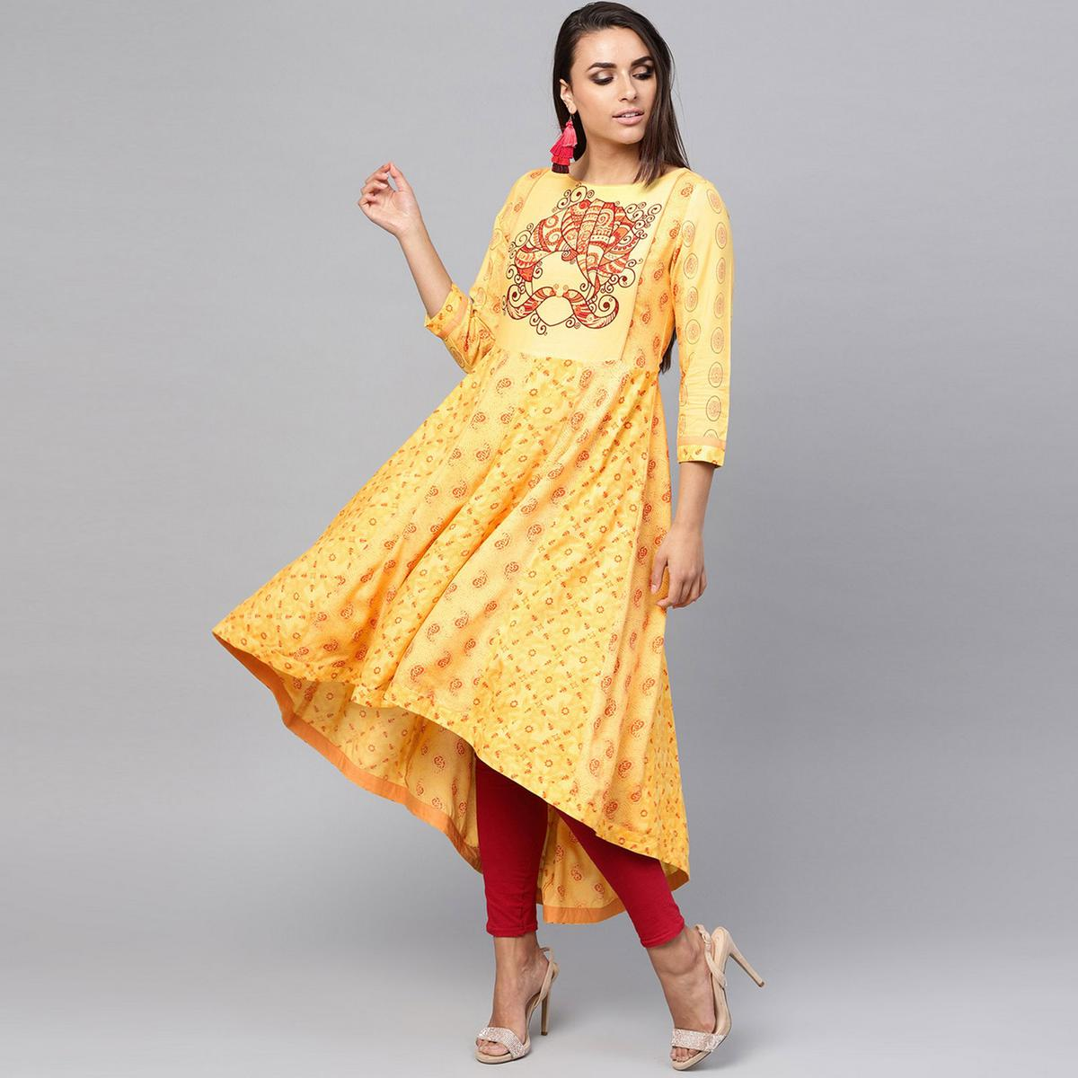 Blooming Yellow Colored Party Wear Printed Rayon Kurti