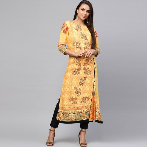 Charming Yellow Colored Casual Wear Printed Rayon Kurti