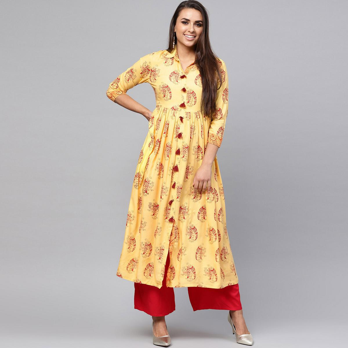 Jazzy Yellow Colored Party Wear Printed Rayon Kurti