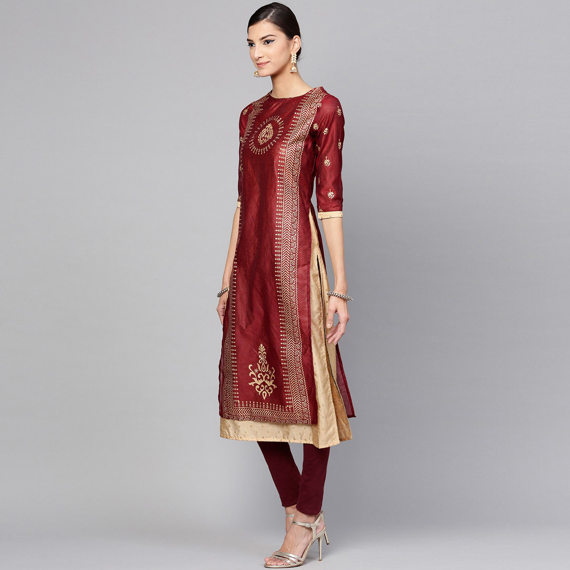 Delightful Maroon Colored Casual Wear Printed Chanderi Silk Kurti