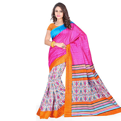 Pink - Yellow Print Work Silk Saree
