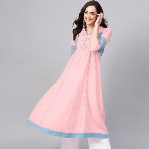 Amazing Pink Colored Casual Wear Embroidered Cotton Kurti