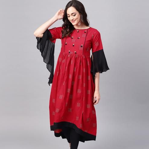 Blissful Red Colored Party Wear Printed Cotton Kurti