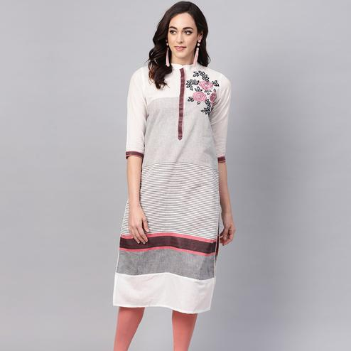 Ideal Off White Colored Casual Wear Floral Embroidered Cotton Kurti