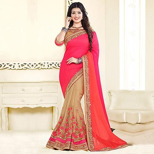 Coral Red - Beige Half & Half Saree