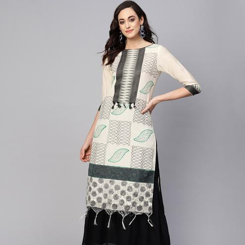 Pleasance Off White Colored Casual Wear Printed Chanderi Kurti
