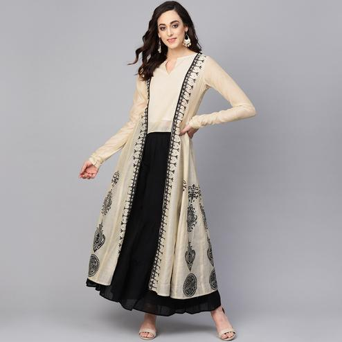 Ethnic Beige-Black Colored Party Wear Printed Chanderi Silk Kurti