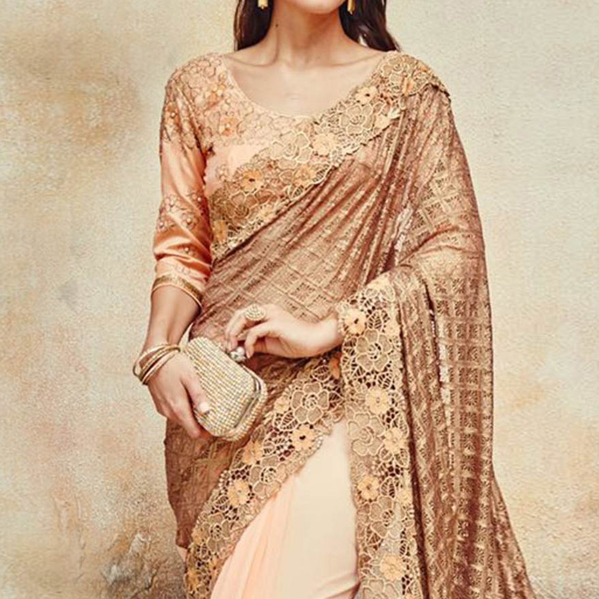Golden - Peach Russel Net & Georgette Half Saree