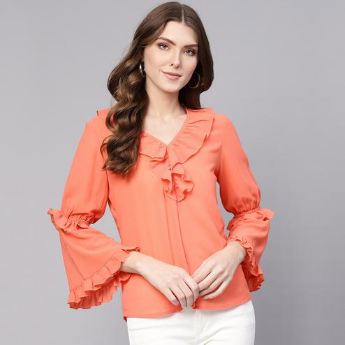 Marvellous Orange Colored Casual Wear Bell Sleeves Polyester Top