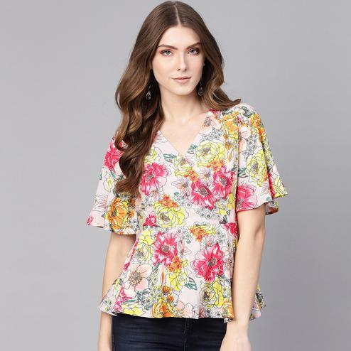 Flamboyant Multi Colored Casual Wear Floral Printed Polyester Top
