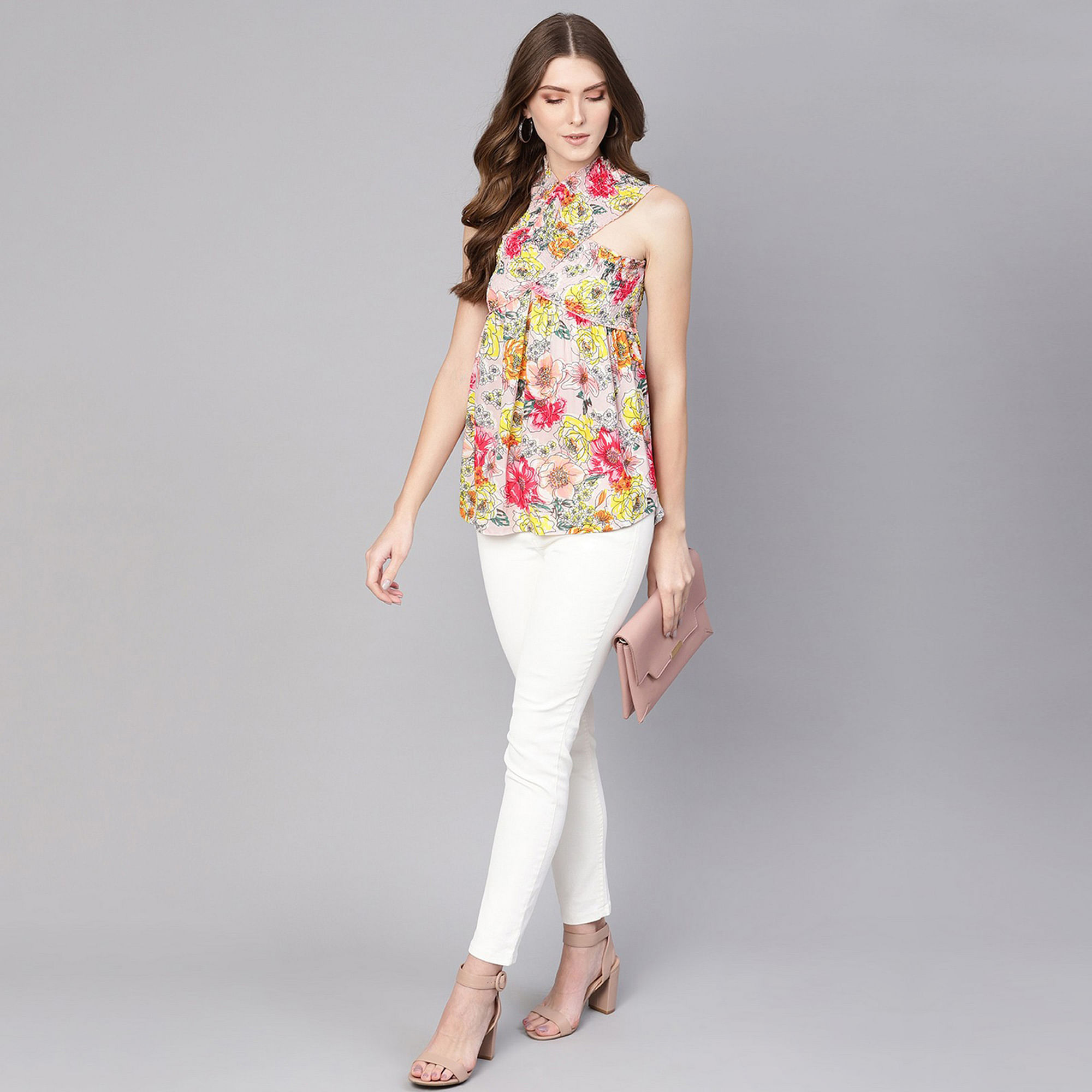 Pretty Multi Colored Casual Wear Floral Printed Polyester Top