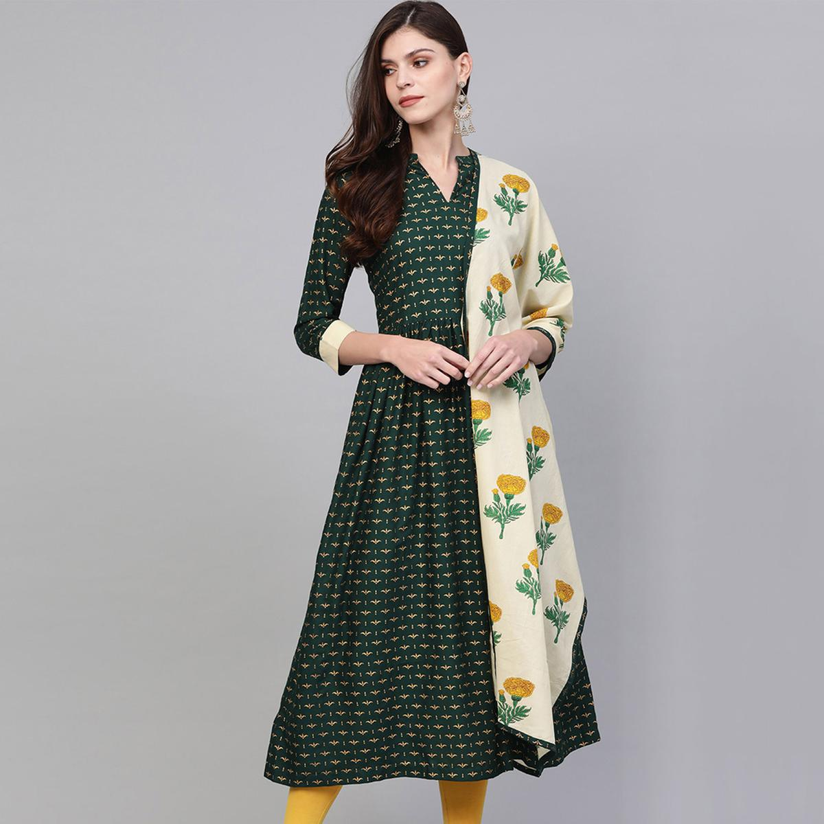 Blooming Bottle Green Colored Party Wear Printed Rayon Kurti With Dupatta