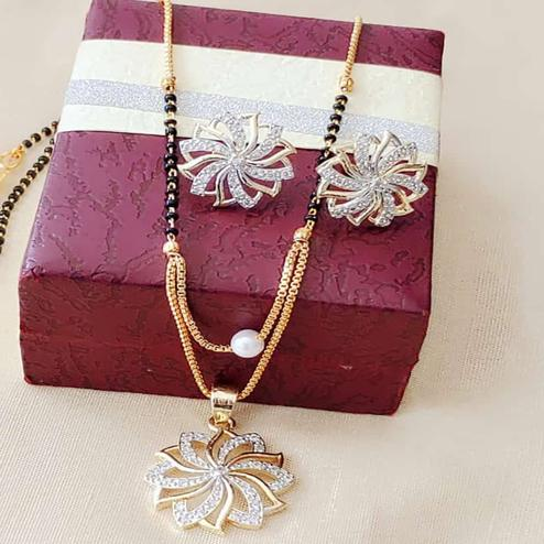 Adorable Gold Plated American Diamond Alloy Mangalsutra Set