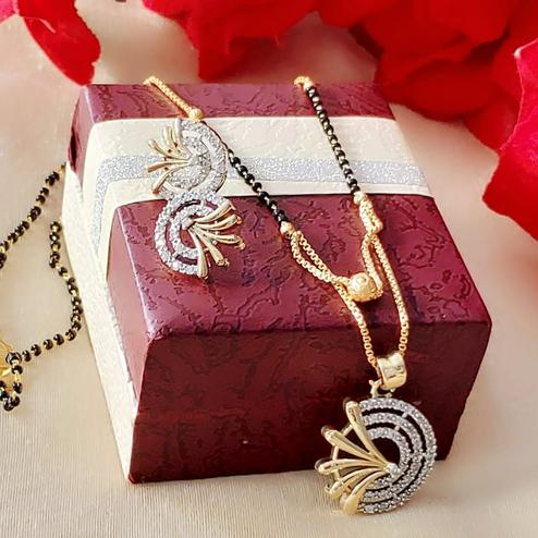Glorious Gold Plated American Diamond Alloy Mangalsutra Set