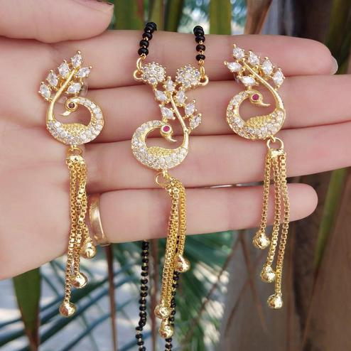 Graceful Gold Plated American Diamond Alloy Mangalsutra Set
