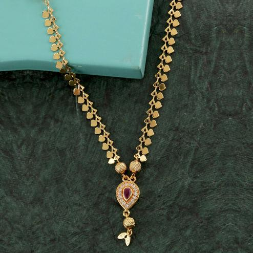 Fantastic Micro Gold Plated American Diamond Copper Necklace