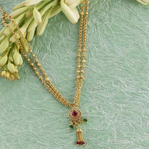 Amazing Micro Gold Plated American Diamond Copper Necklace