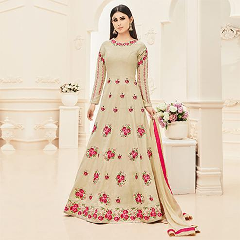 Beige Embroidered Work Anarkali Suit