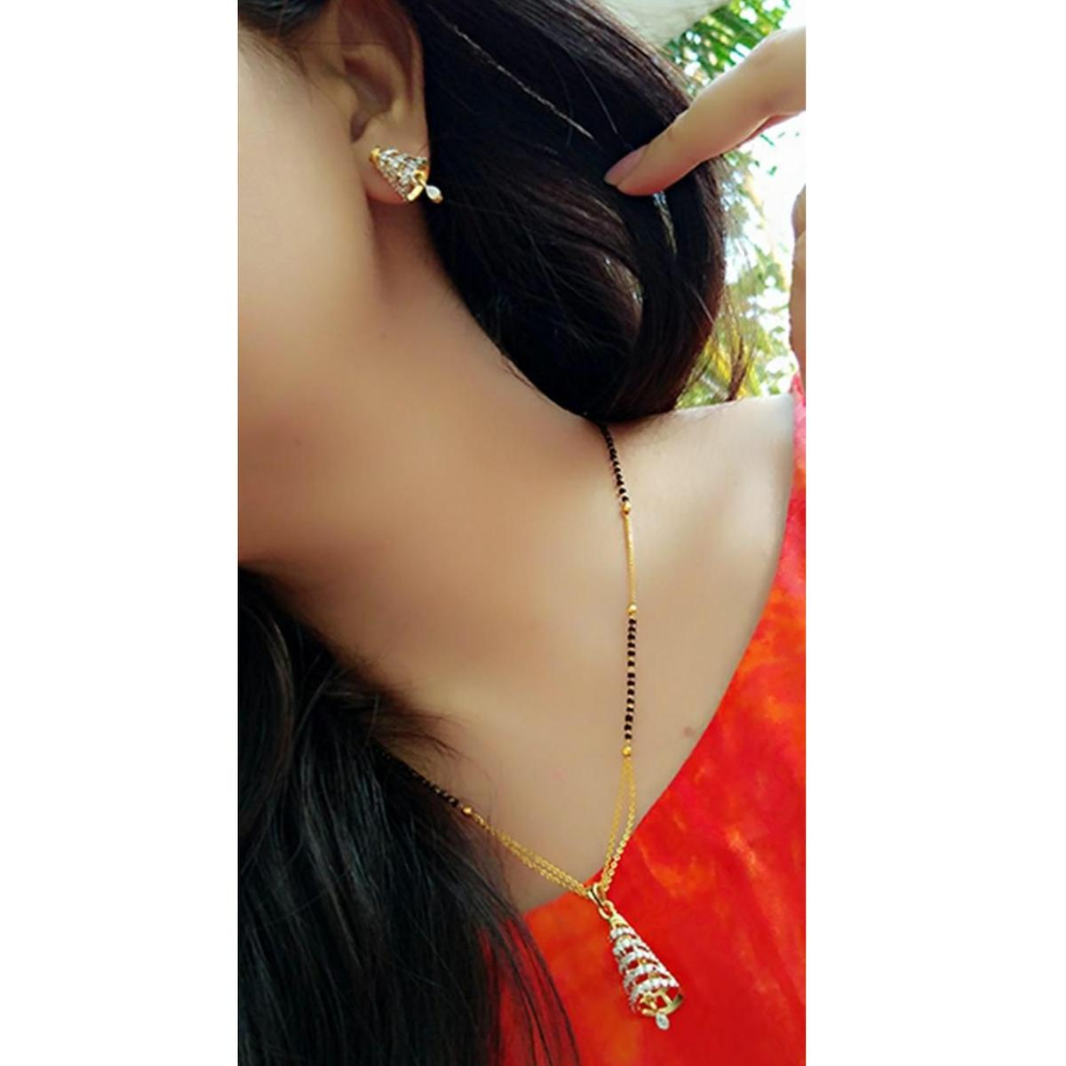 Ideal Gold Plated American Diamond Alloy Mangalsutra Set