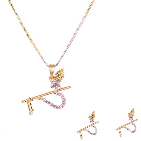 Lovely Alloy American Diamond Pendant Set With Chain