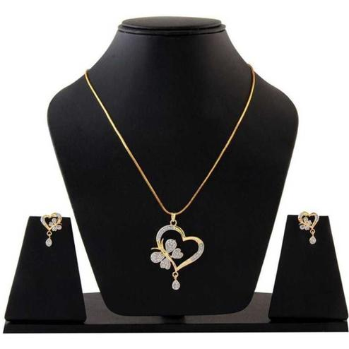 Pleasance Alloy American Diamond Pendant Set With Chain