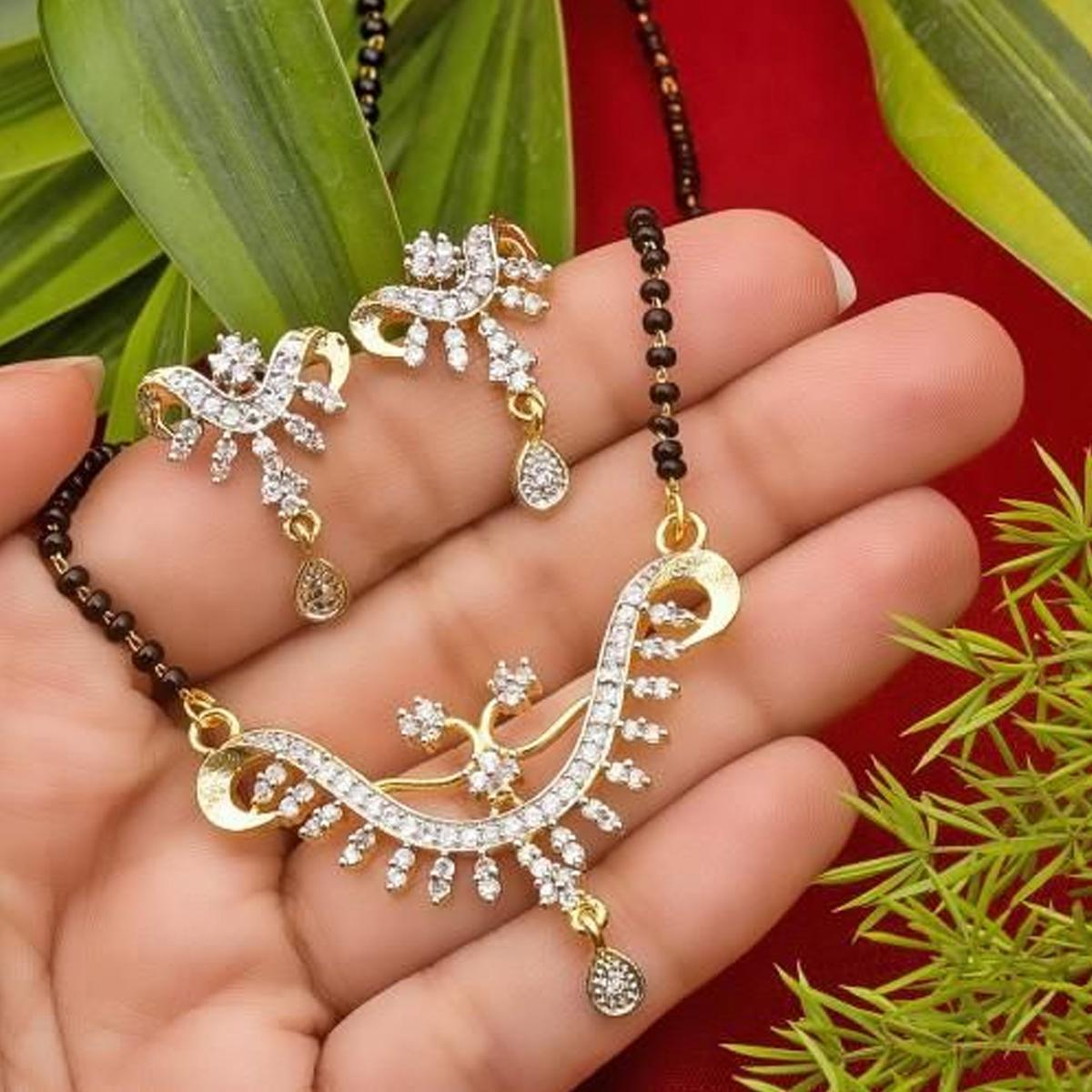 Engrossing Gold Plated American Diamond Alloy Mangalsutra Set For Women
