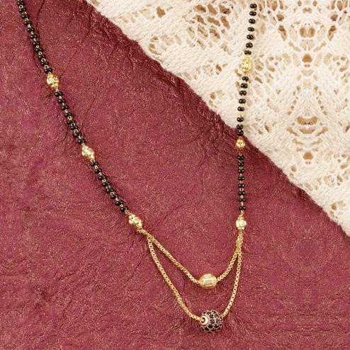 Gorgeous Gold Plated American Diamond Alloy Mangalsutra