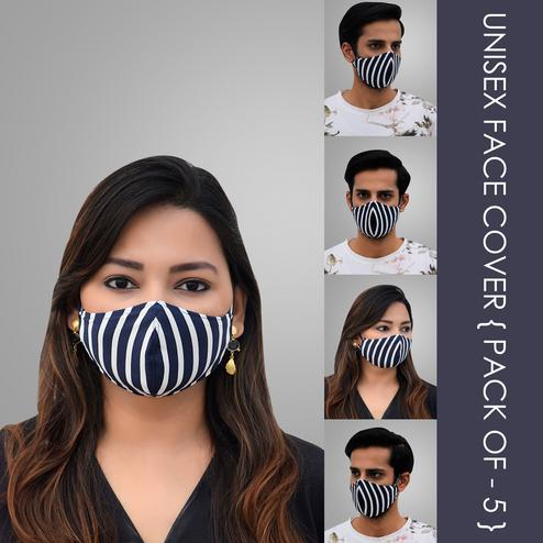 Pannkh Unisex 5 Pcs 2-Ply Printed Stripes Reusable Outdoor Face Cover