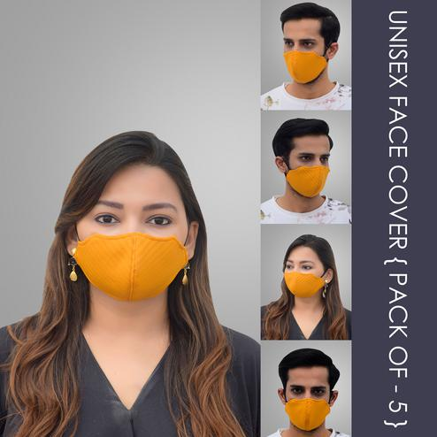 Pannkh Unisex 5 Pcs 2-Ply Solid Reusable Outdoor Face Cover
