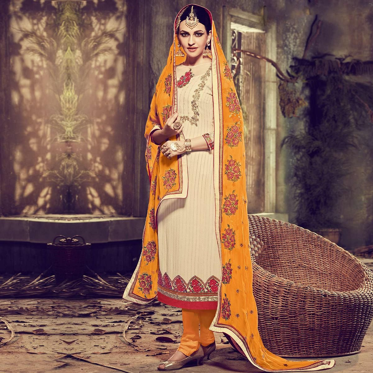 Cream - Orange Party Wear Georgette Suit