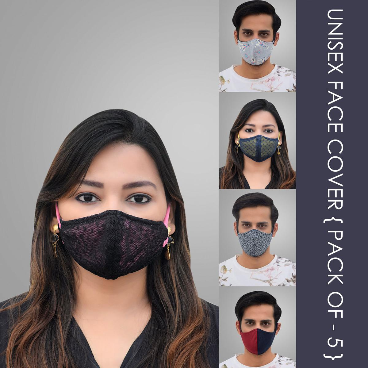 Pannkh Unisex 5 Pcs 2-Ply Printed Reusable Outdoor Face Cover