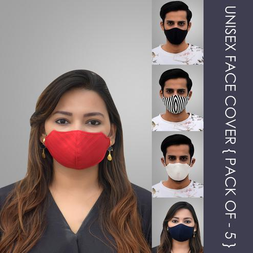 Pannkh Unisex 5 Pcs 2-Ply Printed And Solid Reusable Outdoor Face Cover