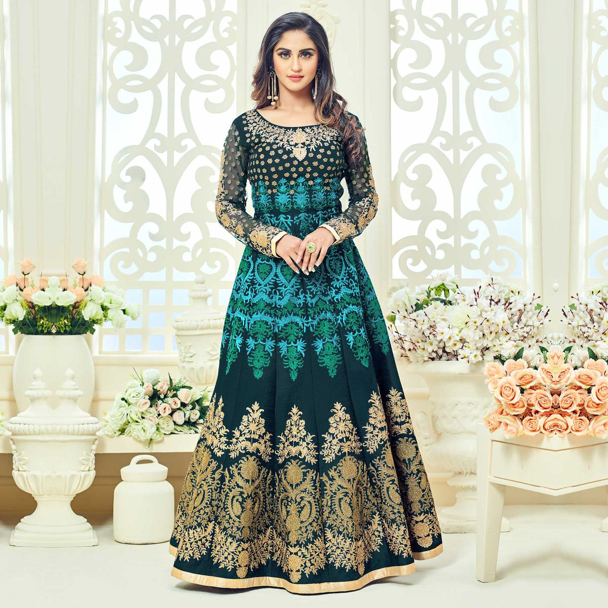 Green Heavy Embroidered Work Anarkali Suit