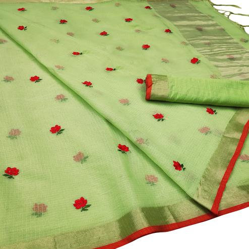 Desirable Pista Green Colored Party Wear Floral Embroidered Silk Saree With Tassels