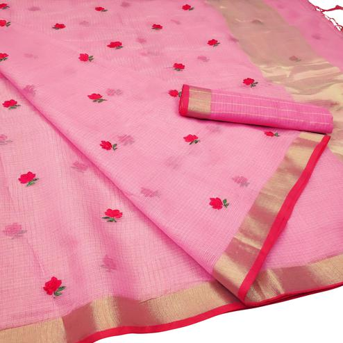 Elegant Pink Colored Party Wear Floral Embroidered Silk Saree With Tassels